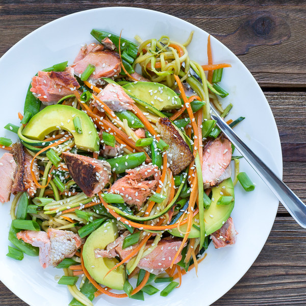 Asian Salmon Zucchini Noodle Bowl with Carrots & Sugar Snap Peas