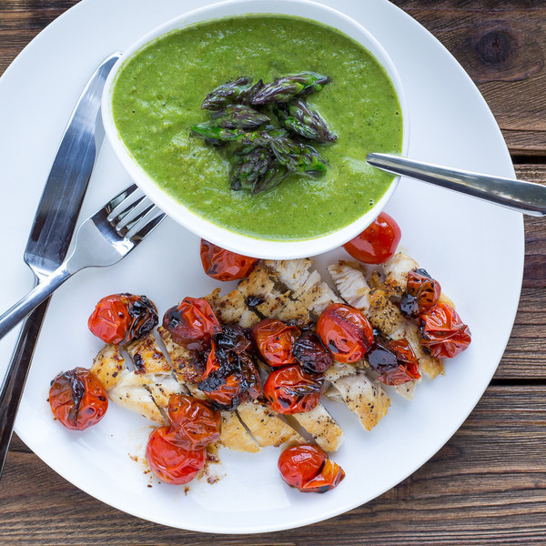 Asparagus Soup with Chicken Slices & Garlicky Grape Tomatoes