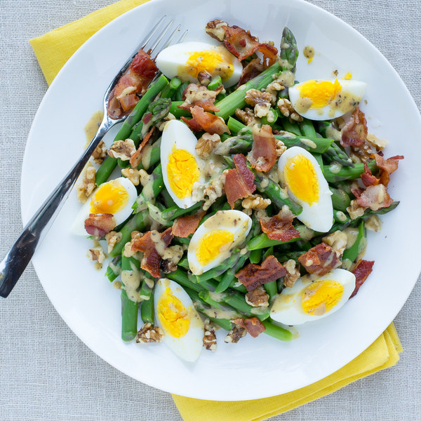 Asparagus, Egg & Bacon Salad with Walnuts & Dijon Vinaigrette