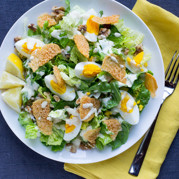 Egg & Walnut Caesar Salad with Parmesan Crisps & Creamy Dressing