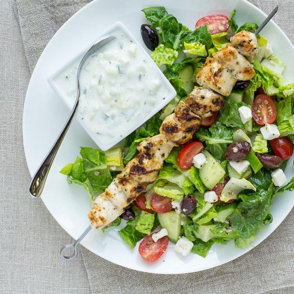 Chicken Kebabs with Greek Salad & Tzatziki Sauce