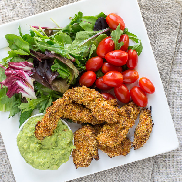 Chicken Fingers & Avocado Dip with Greens & Grape Tomatoes