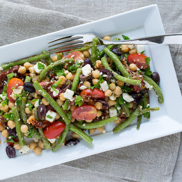 Green Bean, Chickpea & Sun-Dried Tomato Salad with Feta & Olives