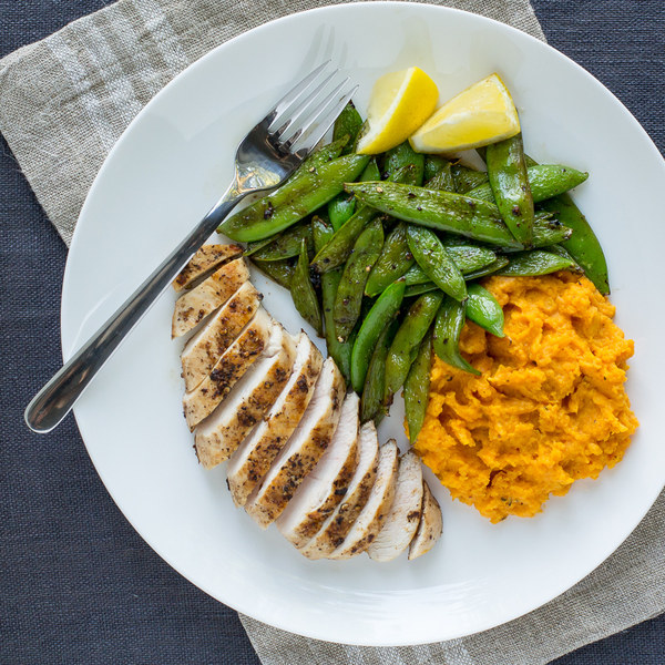 Pan-Fried Chicken with Sautéed Sugar Snap Peas & Sweet Potato Mash