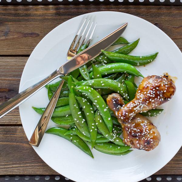 Teriyaki Chicken Drumsticks with Sautéed Sugar Snap Peas