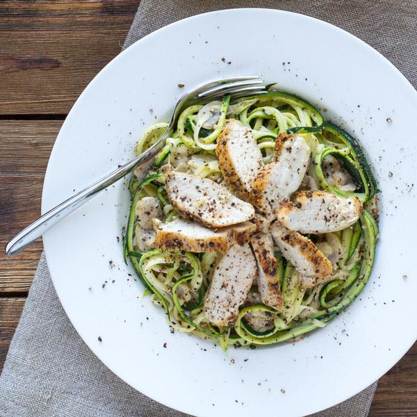 Chicken & Mushroom Alfredo over Zucchini Pasta