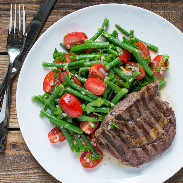 Grilled Steak with Green Bean & Grape Tomato Salad