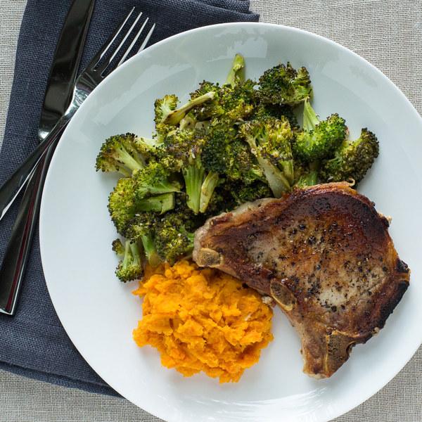 Pan-Fried Pork Chops with Roasted Broccoli & Sweet Potato Mash