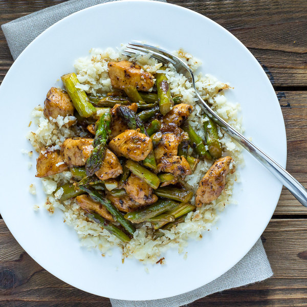 Lemon Chicken & Asparagus Stir Fry with Cauliflower Rice