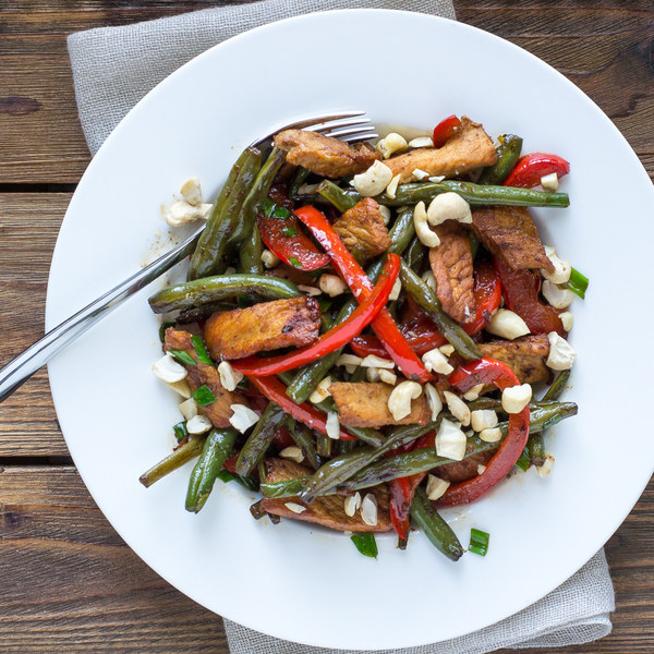 Pork, Green Bean & Bell Pepper Stir Fry with Cashews