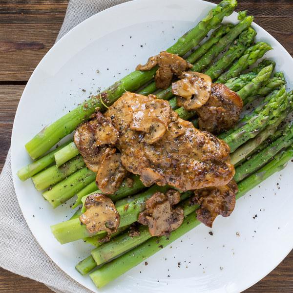 Skillet Dijon Chicken & Mushrooms with Asparagus