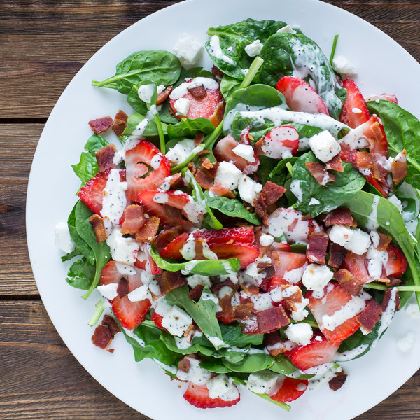 Strawberry, Bacon & Spinach Salad with Feta & Poppy Seed Dressing