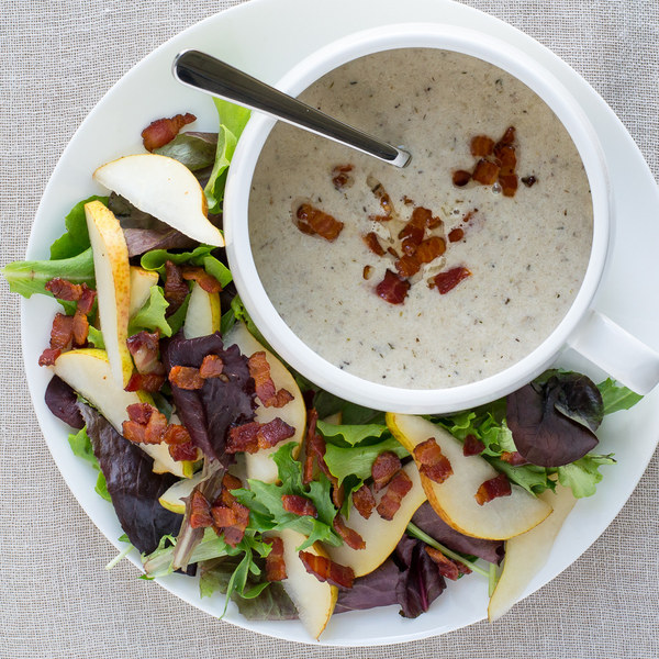 Creamy Mushroom Bacon Soup with Pear & Mixed Greens Salad