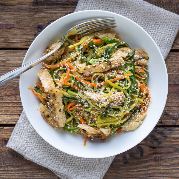Thai Chicken & Zucchini Noodle Salad with Spicy Almond Sauce