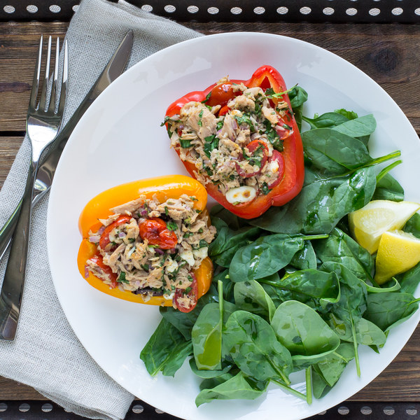 Mediterranean Tuna Stuffed Bell Peppers with Baby Spinach Salad