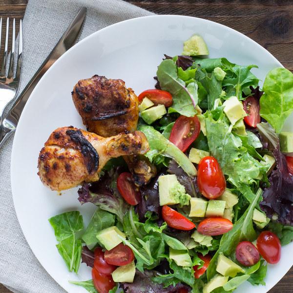 Garlic Paprika Chicken Drumsticks with Avocado, Tomato & Greens Salad