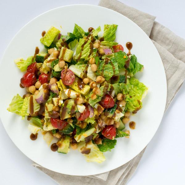 Chickpea, Egg & Avocado Chopped Salad with Balsamic Vinaigrette