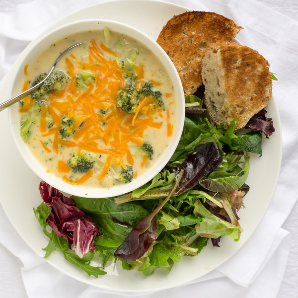Broccoli Cheddar Soup with Toast & Mixed Greens Salad