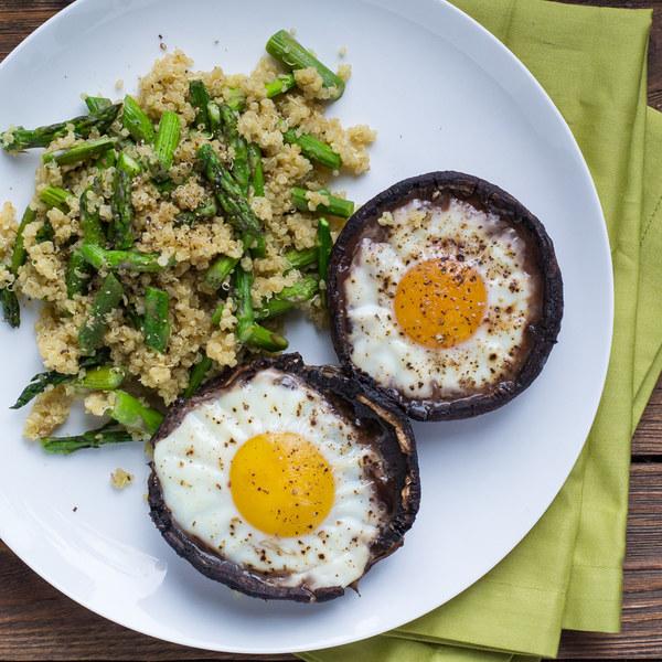 Portobello Mushroom Egg Bakes with Asparagus & Parmesan Quinoa
