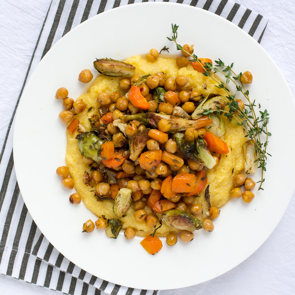 Roasted Chickpeas, Brussels Sprouts & Carrots with Polenta