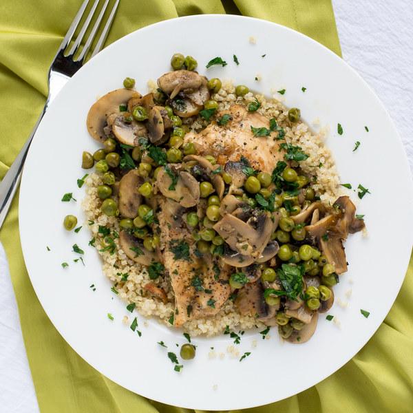Chicken, Mushroom & Green Pea Skillet with Quinoa