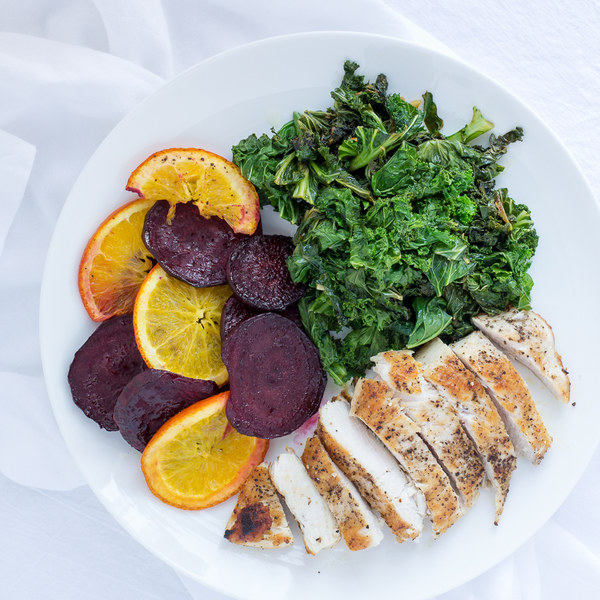 Chicken & Sautéed Kale with Roasted Beet & Orange Slices