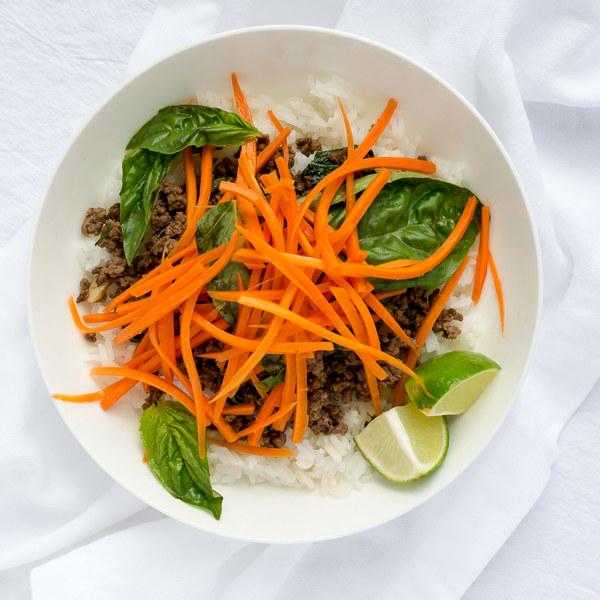Thai Beef with Carrot-Basil Salad & Jasmine Rice