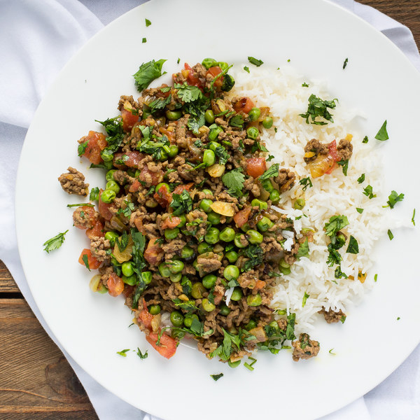 Indian-Inspired Beef Kheema with Peas & Basmati Rice