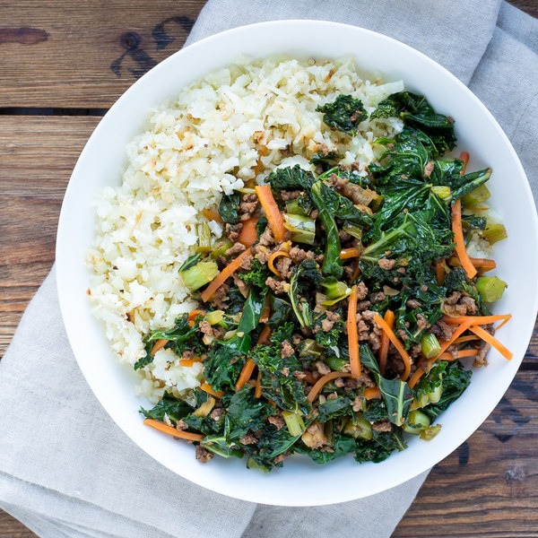 Ground Beef, Kale & Carrot Stir Fry with Cauliflower Rice