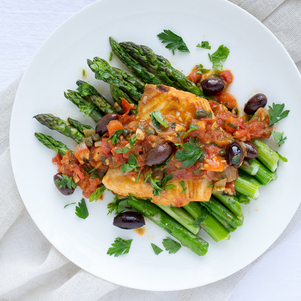 Cod Poached in Fresh Tomato Sauce with Roasted Asparagus