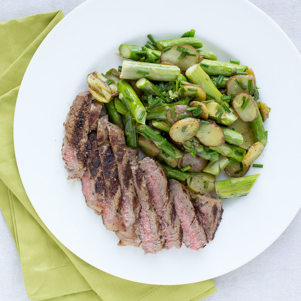 New York Strip Steak with Roasted Asparagus & New Potato Salad