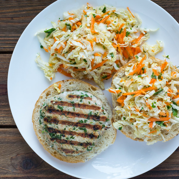 Thai-Inspired Turkey Burgers with Napa Cabbage Slaw