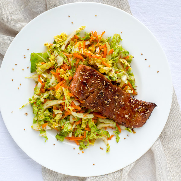 Soy-Ginger Salmon with Sesame Napa Cabbage Slaw