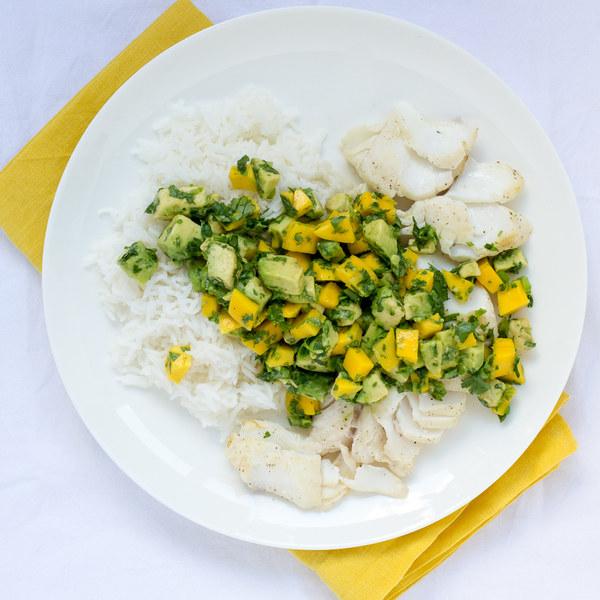 Grilled Halibut with Mango-Avocado Salsa & Basmati Rice