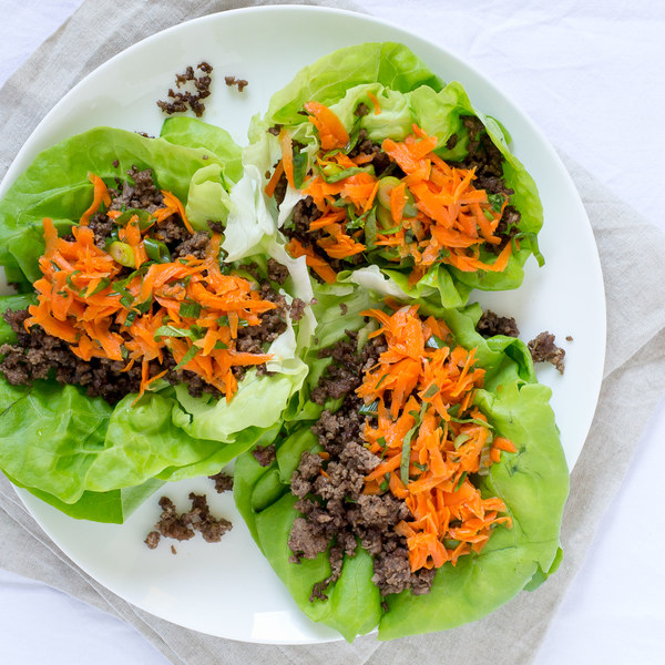 Thai Ground Beef & Carrot Lettuce Wraps