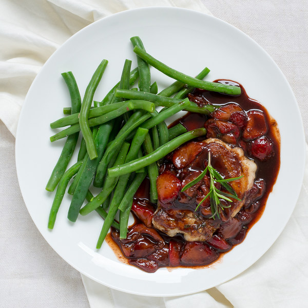 Rosemary Pork Chops with Balsamic-Strawberry Sauce & Green Beans