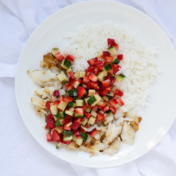 Grilled Fish & Basmati Rice with Strawberry, Cucumber & Mint Salsa
