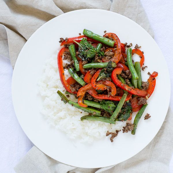 Ground Beef, Green Bean & Bell Pepper Stir Fry with Jasmine Rice