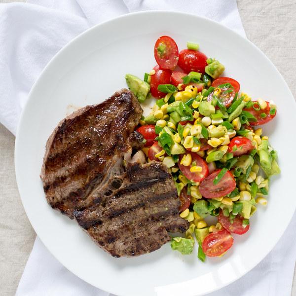 Grilled Steak with Tomato, Corn & Avocado Salad