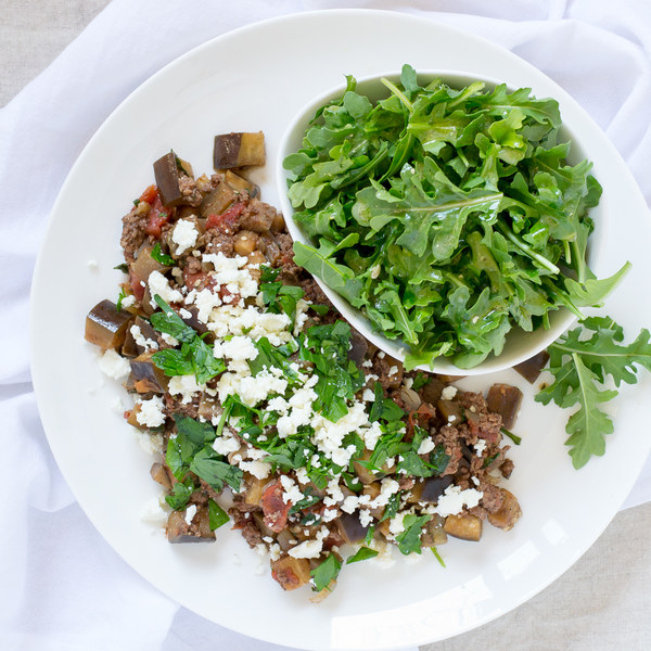 Skillet Eggplant, Beef & Feta Moussaka with Lemon Arugula Salad