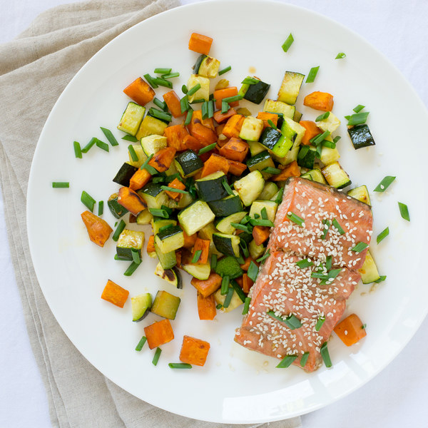 Asian-Style Salmon with Roasted Zucchini & Sweet Potatoes