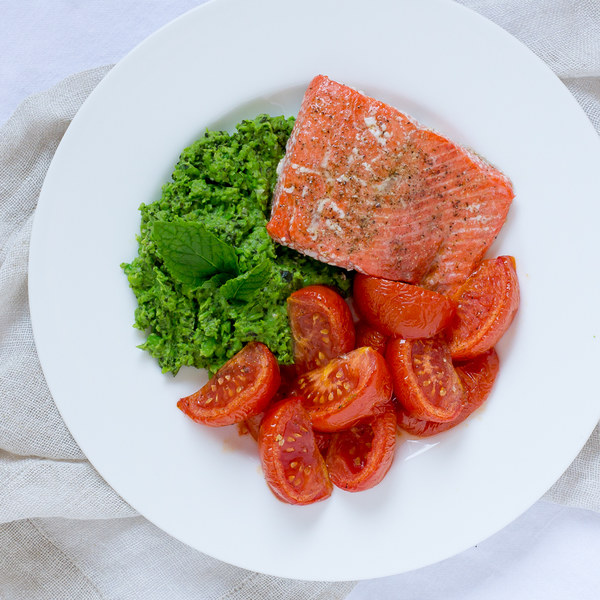 Roasted Salmon & Tomatoes with Minted Pea Puree