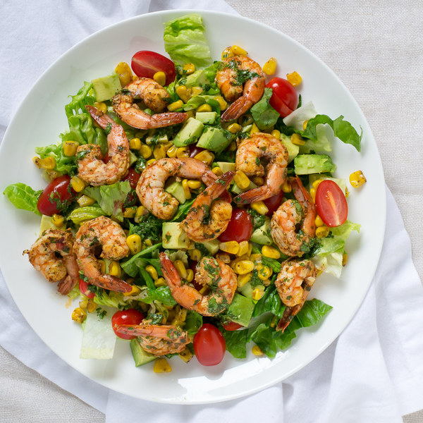 Avocado, Shrimp & Corn Salad with Cilantro-Lime Dressing