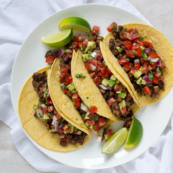Black Bean Tacos with Tomato & Avocado Salsa