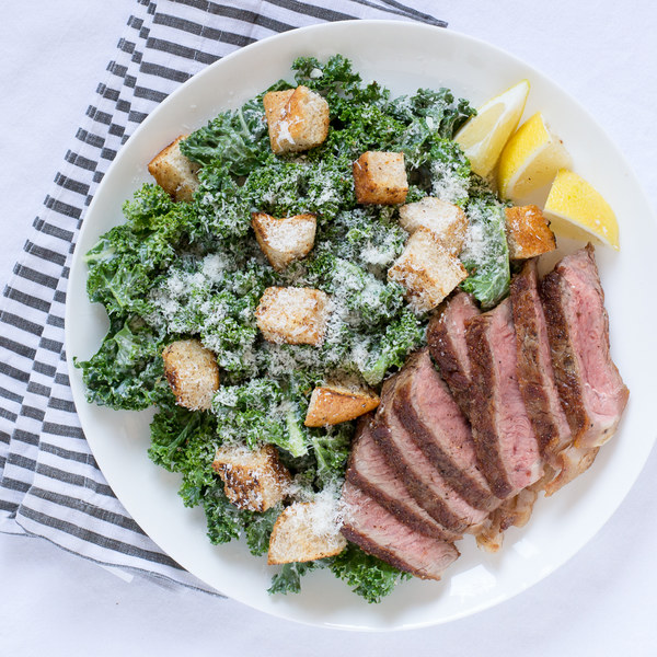 Steak & Kale Caesar Salad with Creamy Parmesan Dressing