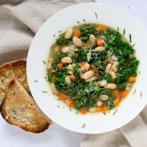 Tuscan Kale & White Bean Soup with Toast