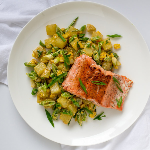 Pan-Seared Salmon with Warmed Potato, Corn & Snap Pea Salad