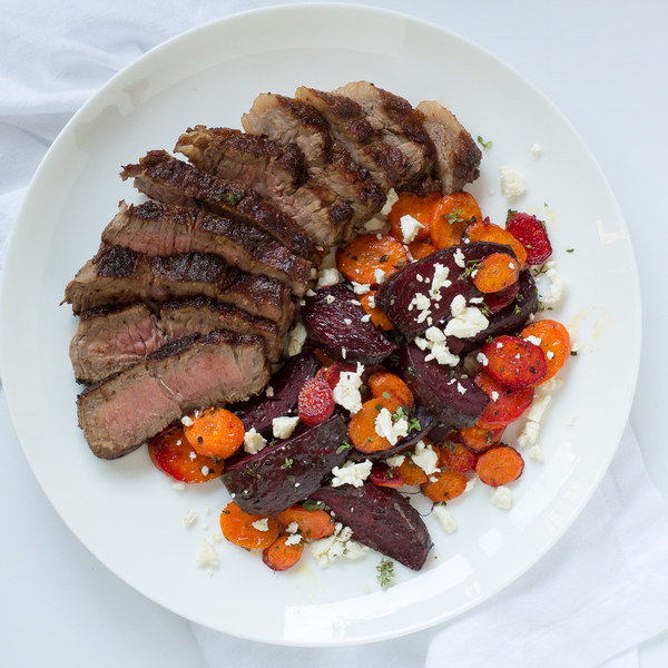 Striploin Steak with Roasted Carrot, Beet & Feta Salad