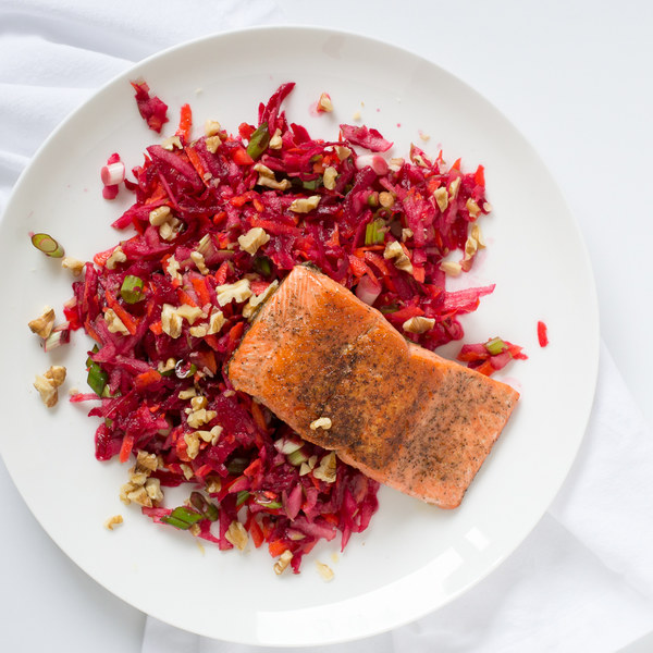Pan-Fried Salmon with Carrot, Beet & Apple Slaw