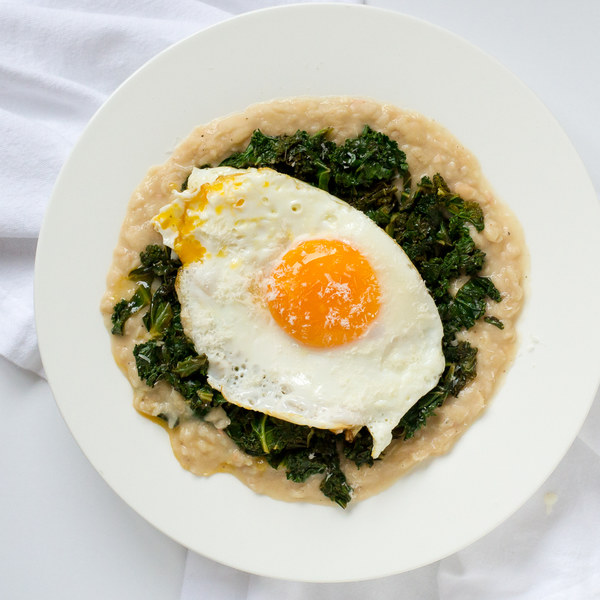 Cheesy Mashed White Beans with Sautéed Kale & Fried Eggs